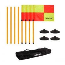 Corner flagpole movable set
